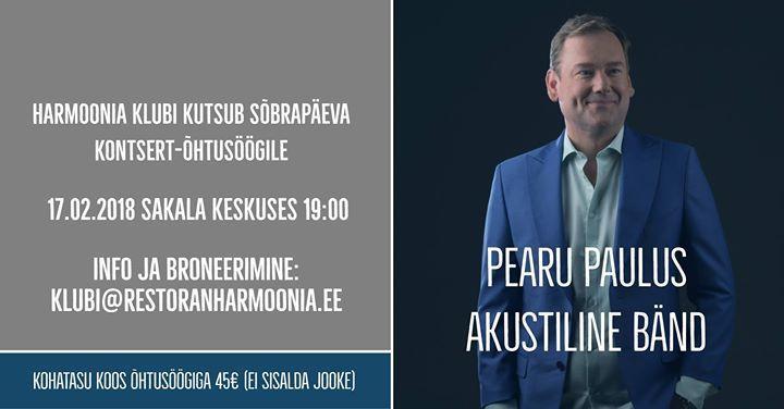 Kontsert-õhtusöök: Pearu Paulus akustilise bändiga - Kohvik Harmoonia
