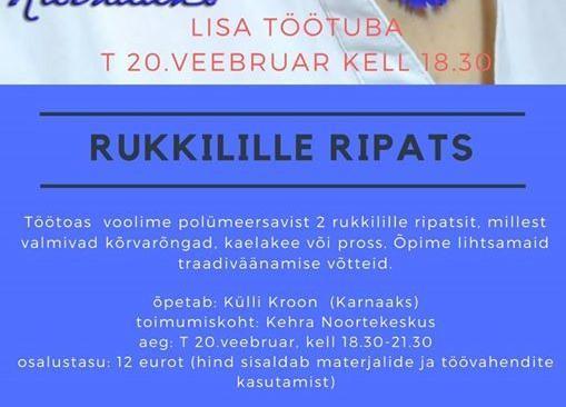 Töötuba: Rukkilille ripats - Kehra Noortekeskus