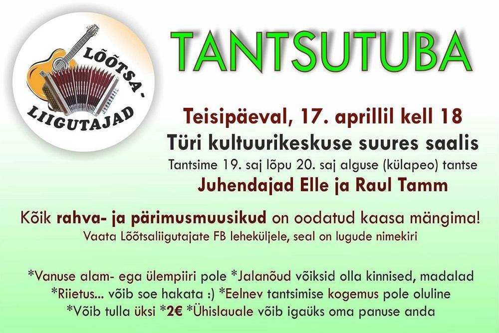 Tantsutuba Türi kultuurikeskuses! - Türi Kultuurikeskus