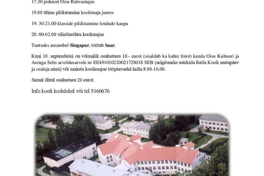 """""""Retla kool 165"""" kontsert- aktus Oisu rahvamajas - Oisu rahvamaja"""