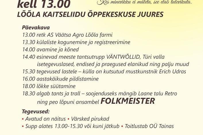 Lõõla, Vissuvere ja Nehatu külade kokkutulek Lõõlas Kaitseliidu õppekeskuses - Lõõla