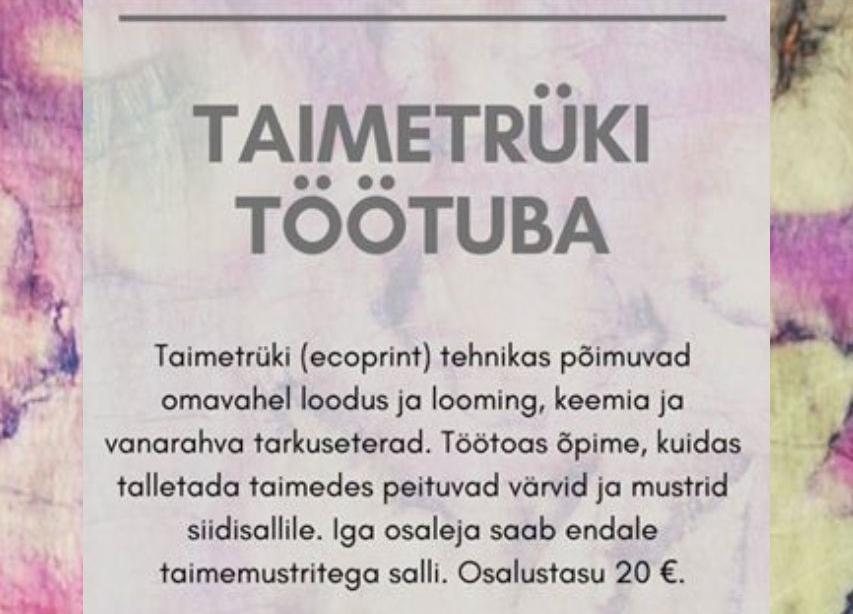 Siidisalli taimetrüki töötuba - Kostivere Kultuurimõis