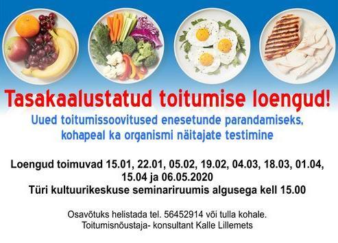 Tasakaalustatud toitumise loengud- Viiruseohu tõttu jääb ära! - Türi Kultuurikeskus