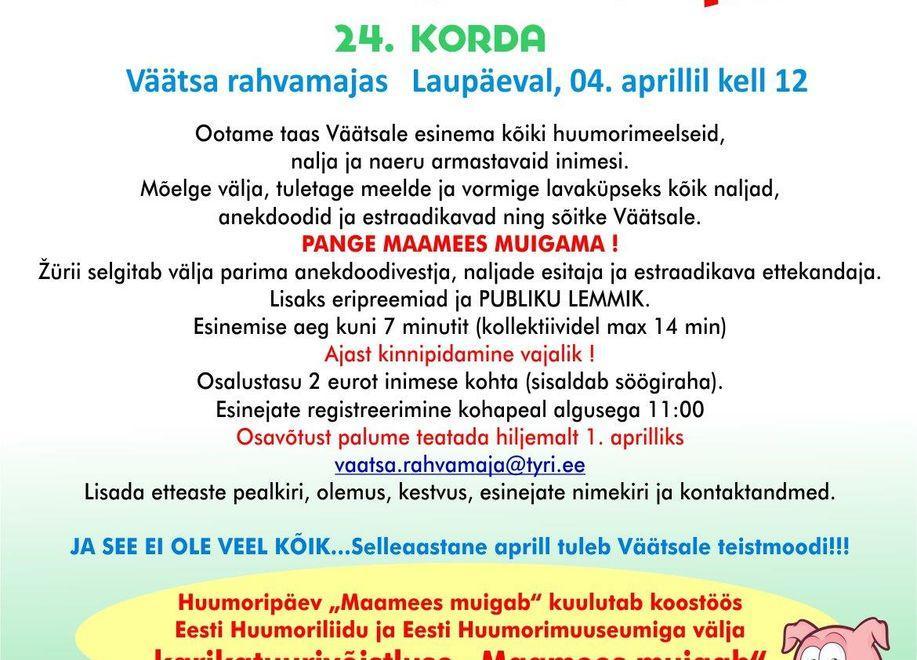 Huumoripäev Maamees Muigab 2020- Lükkub edasi! - Väätsa Rahvamaja