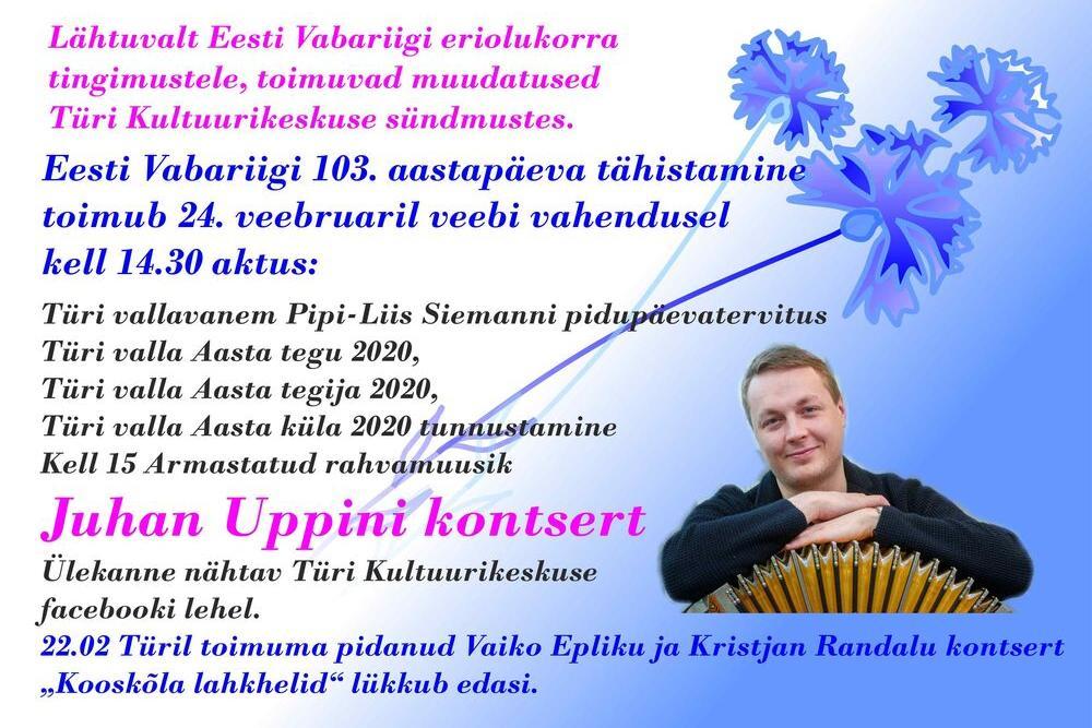 Eesti Vabariigi 103. aastapäeva tähistamine veebi vahendusel Türi Kultuurikeskuses  - Türi Kultuurikeskus