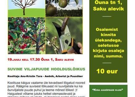 Suvine viljapuude hoolduslõikus - Koolitaja Anu-Kristin Tara - Aednik, Arborist ja Puusõber - Saku vald