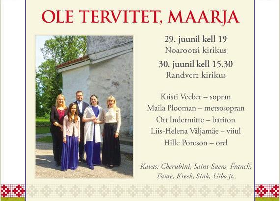 Kirikukontsert - Ole tervitet, Maarja - EELK Randvere kirik