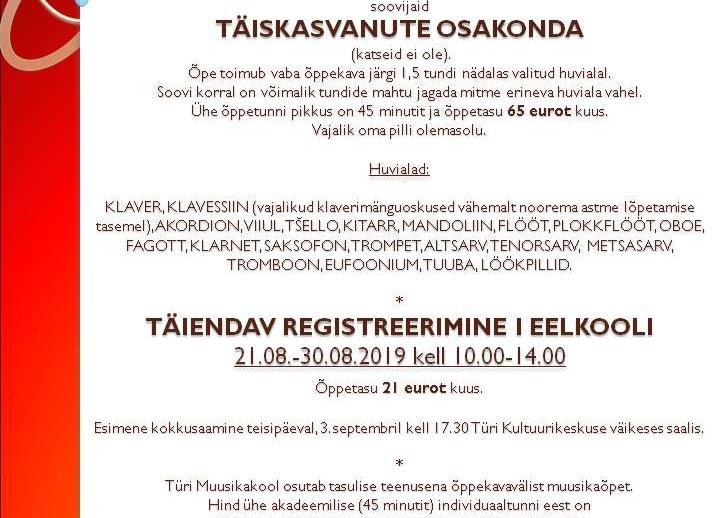 Registreerimine Türi Muusikakooli I eelkooli ja täiskasvanute osakonda - Türi Muusikakool