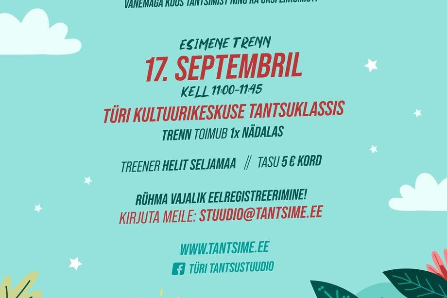 Türi Tantsustuudios alustab tantsurühm 2-3 aastastele kodustele lastele - Türi Kultuurikeskus