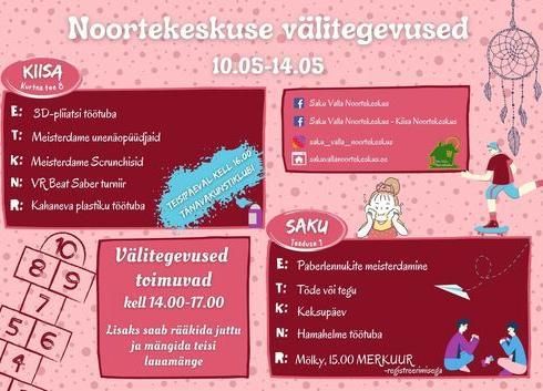 Noortekeskuse välitegevused 10.05 - 14.05 - Kiisa Noortekeskus