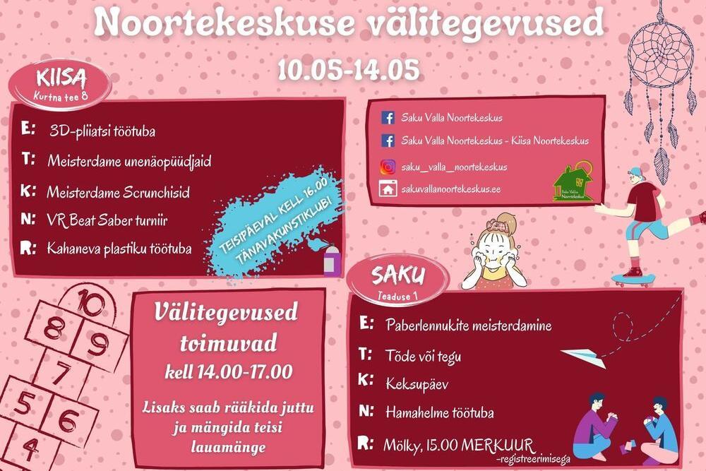 Noortekeskuse välitegevused 10.05 - 14.05 - Saku Valla Noortekeskus