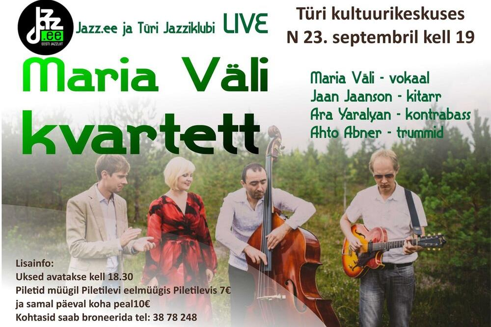 Jazzliit ja Türi Kultuurikeskus LIVE | Maria Väli kvartett - Türi Kultuurikeskus