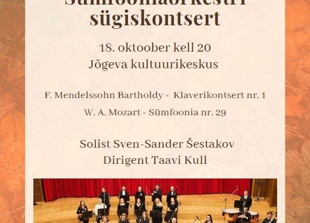 Tartu Ülikooli Sümfooniaorkestri sügiskontsert - Jõgeva Kultuurikeskus
