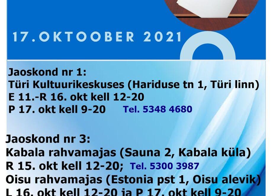 KOV valimised 2021 Türi kultuurikeskuses - Türi Kultuurikeskus